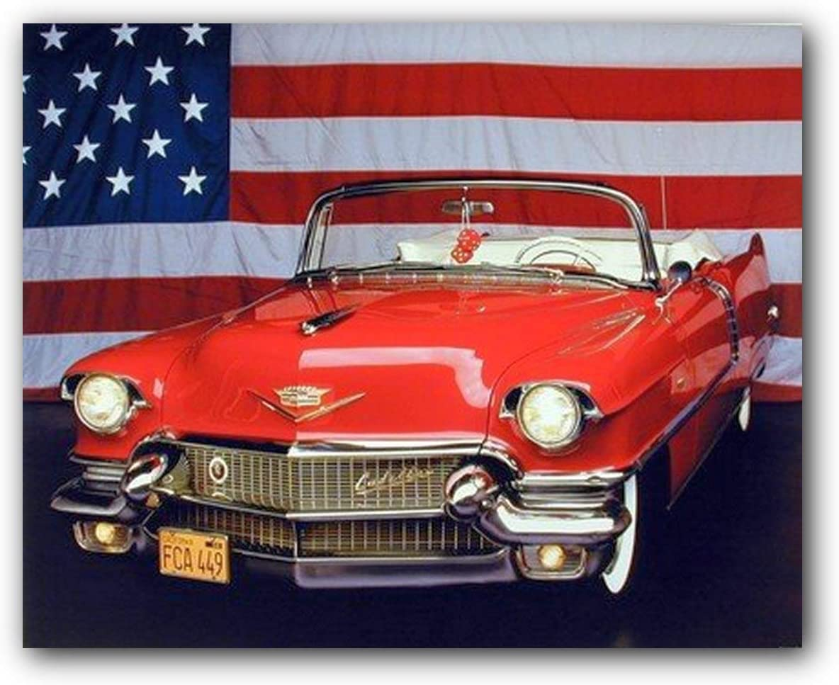 1956 Red Cadillac with U.S. Flag Vintage Classic Car Wall Decor Art Print Poster (16x20)