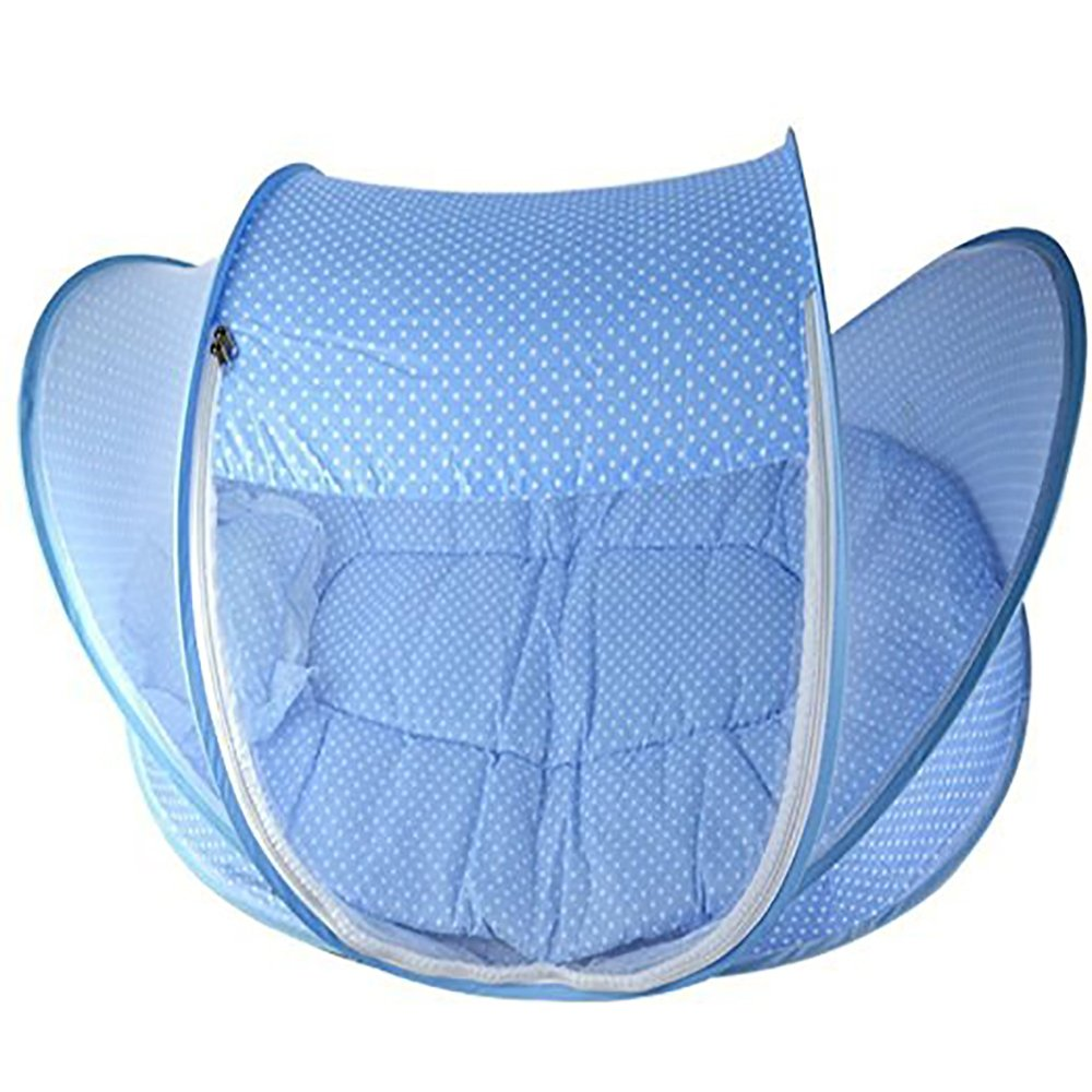 pink BingHang Baby Travel Bed,Infant Baby Bed Portable Mosquito Net Folding Baby Crib Netting Summer Autumn Portable Baby Cots Newborn Foldable Crib Net with Summer Sleeping Mat and Music Pack