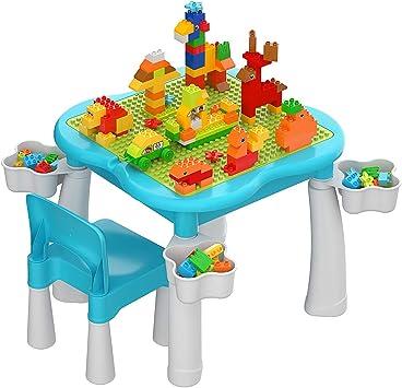 burgkidz Juego de Mesa y Silla para Niños, Mesa de Actividades para Niños Pequeños con Tablero de Placa Base de Construcción, 1 Silla y 128 Piezas de Juguetes de Construcción Grandes, Azul: