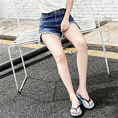 Talón de Femenina Aire Diapositivas de Rayas Zapatillas Vestir Libre Mujeres Antideslizante Al Férula Blue Exteriores Playa Chanclas Planas Fresca de Verano Sandalias de YR07q5