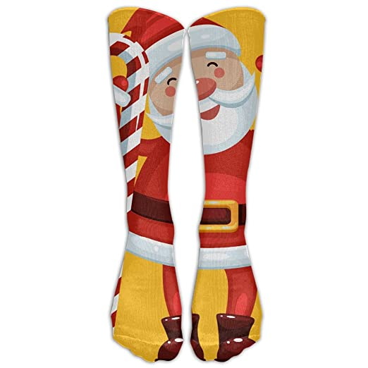 fc4f79c6325 Long Dress Socks Cotton Santa Candy Cane Decorations Soccer Comfortable  Breathable Over-the-Calf