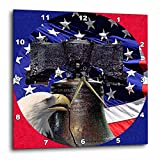 Sandy Mertens Patriotic - Bald Eagle Liberty Bell and Flag - 10x10 Wall Clock (dpp_21651_1)