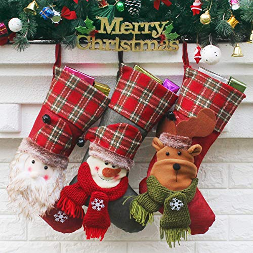 Aiduy Set of 3 Christmas Stockings 18 with Cute 3D Plush Santa Snowman Reindeer Xmas Stockings for Hanging Christmas Decorations and Party Decor
