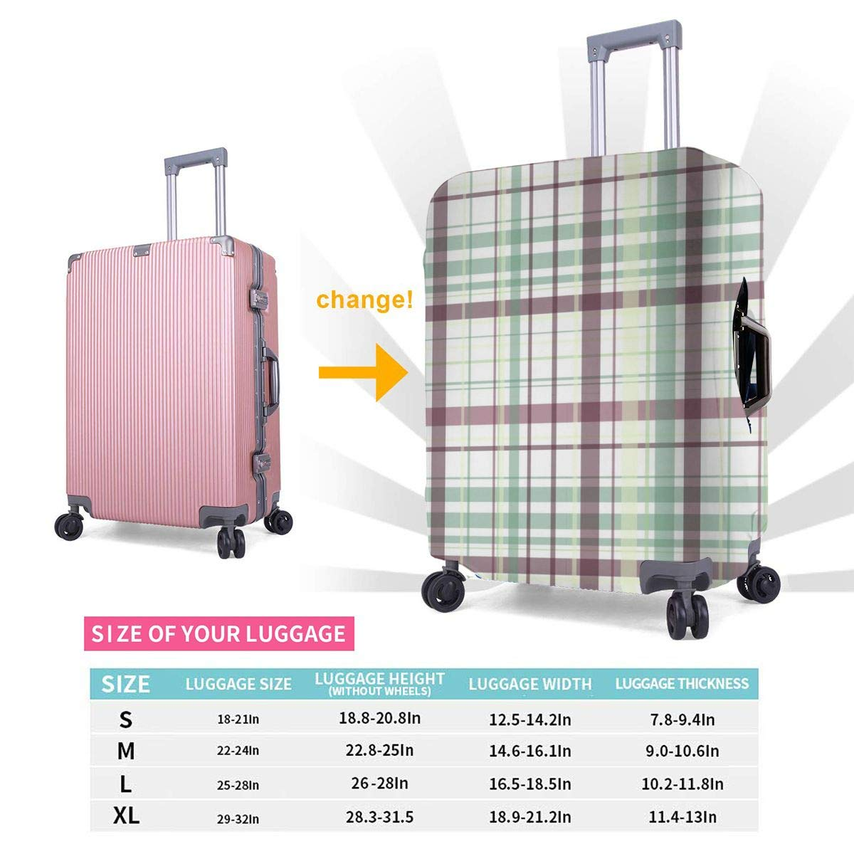Luggage Covers Suitcase Protector Travel Suitcase Baggage Cover Gingham Classical Old Fashioned Grid Fits 18 To 32 Inch