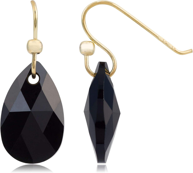 Córdoba Jewels | Pendientes en plata de ley 925 bañada en oro con cristales by Swarovski con diseño Gota Swarovski Onix Gold