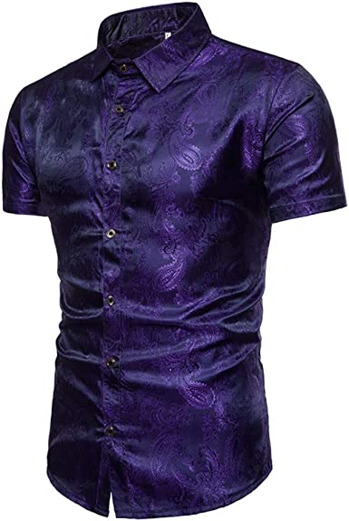 Camisa Brillante De Manga Corta para Hombres, M: Amazon.es: Ropa y accesorios