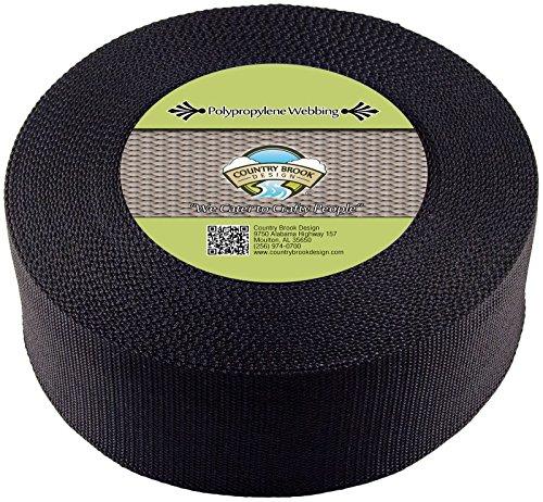 Country Brook Design 3 Inch Black Heavy Polypropylene (Polypro) Webbing, 25 Yards ()