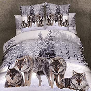 Amazon Com Alicemall Wolf Bedding 3d Snow Wolf In The