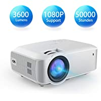 Video Beamer, TOPVISION 1080P Supported 4200 Lumen 200'' Voll HD LED Beamer, 50.000 Stunden Heimkino Projektor für Indoor/Outdoor, kompatibel mit Fire TV Stick, PS4, HDMI, VGA,AV und USB