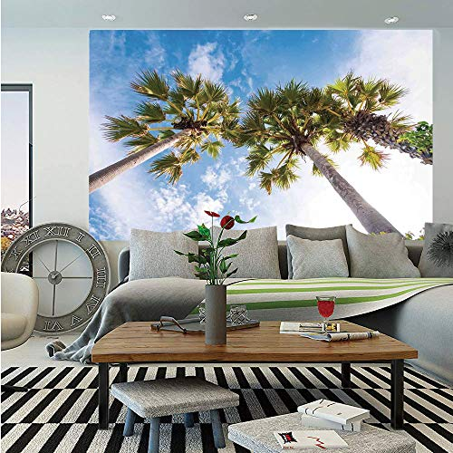 Nature Huge Photo Wall Mural,Palm Tree at Phromthep Cape Phuket Thailand with Summer Sky View Holiday Picture,Self-Adhesive Large Wallpaper for Home Decor 100x144 inches,Blue Green