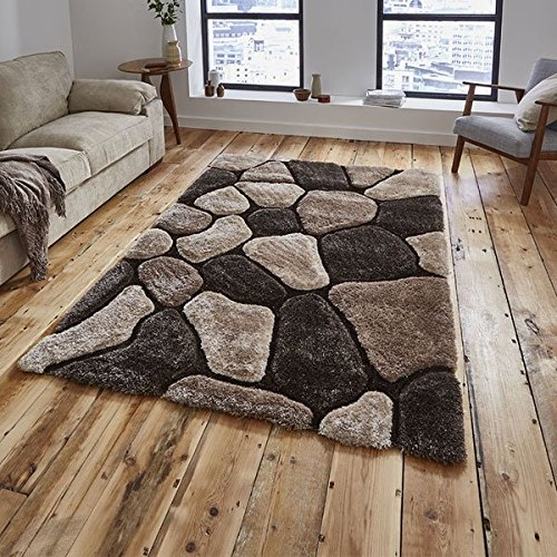 Think Rugs Noble House NH5858 Shaggy Hand Tufted Rug, Blue, 120 x 170 Cm