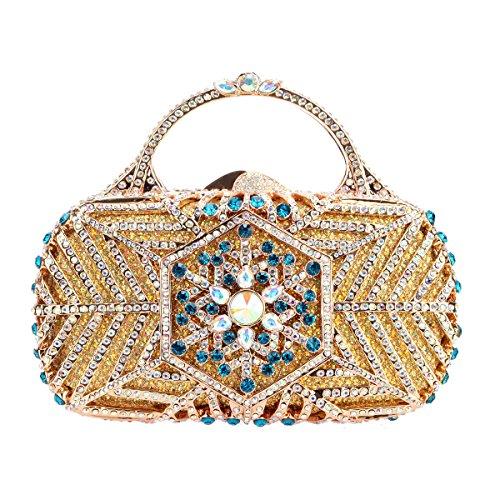 Bonjanvye Snowflake Metal Handle Handbag for Women Clutch Purse Party Clutches AB Gold DVr5koMdy