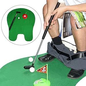 1Set Bathroom Funny Golf Toilet Time Mini Game Play Putter Novelty Gag Gift Mat Men Toy