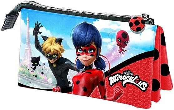 Lady Bug Miraculous- Ladybug Estuche portatodo Triple, Color Rojo, 22 cm (Karactermanía 32893): Amazon.es: Juguetes y juegos
