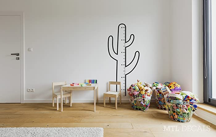 Amazon com cactus growth chart wall decal kids wall vinyl sticker