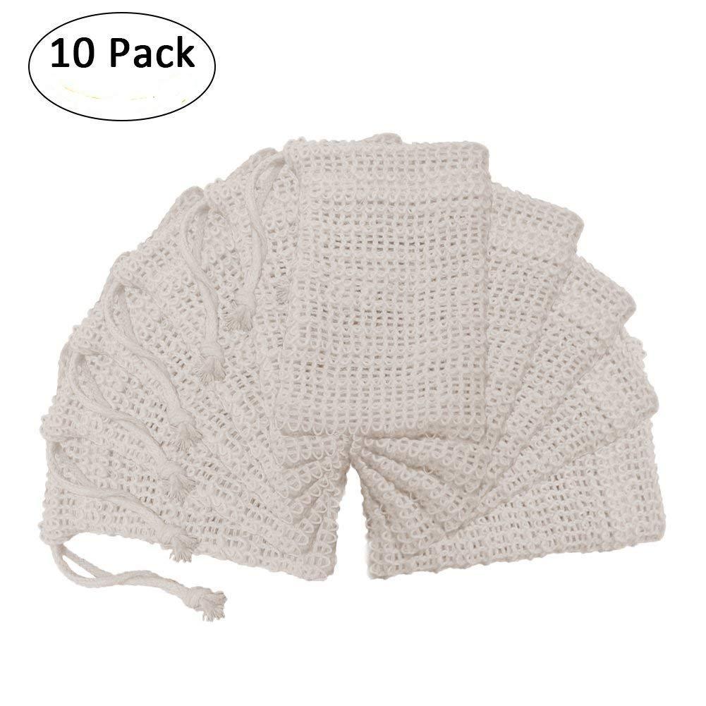 10 PCS Leinen Seifennetz Set Seifenbeutel Seifenrestebeutel Peeling Dusche Reinigung Waschen Haut Pflege Gecorid