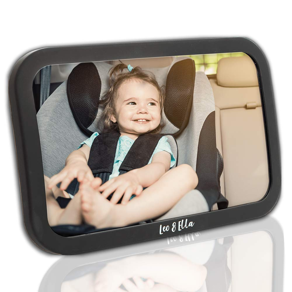 Leo& Ella Baby Car Mirror | CRASH TESTED | Large Shatterproof Mirror With Adjustable Safety Mount | Premium Matte Finish | Crystal Clear View of Newborn in Rear Facing Car Seat | 100% Lifetime Warranty
