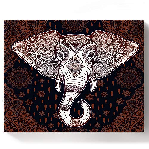 BMALL DIY Full Set of Assorted Color Oil Painting Kit Retro India Ethno Elephant Decorative Pattern Paint by Numbers Framed Canvas for Adults and Kids(16