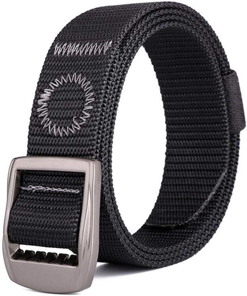 ACVXZ Cinturón de Nylon para Hombres y Mujeres Cinturón de Correas Ajustable Hebilla de Metal Longitud 49in (Color : Negro, Tamaño : 125cm)