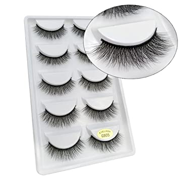 35970483e51 Uranny False Eyelashes, 5 Pairs 100% Mink Natural Thick False Fake  Eyelashes Eye Lashes