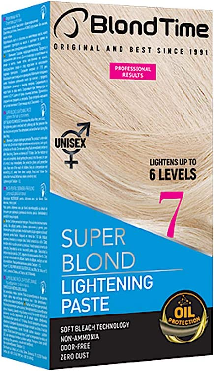 Blond Time Pasta Decolorante aclara hasta 6 tonos Sin Amoniaco Sin Polvo Sin Olor 120 ml