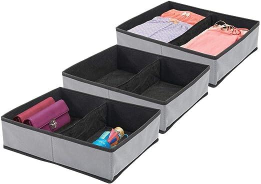 mDesign Juego de 3 Cajas para armarios – Organizador para armarios ...
