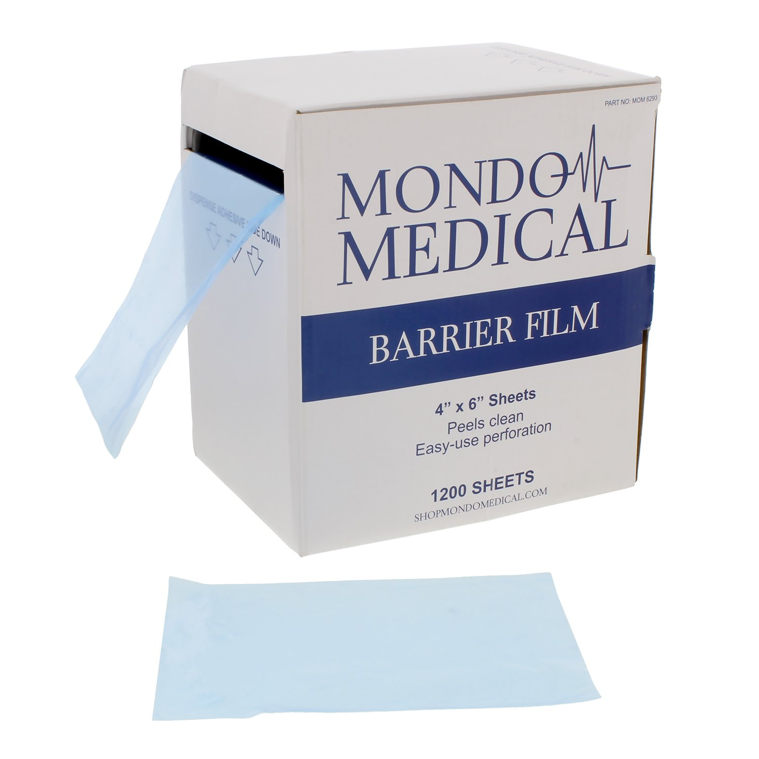 "MonMed Barrier Film Blue and Film Box Dispenser – 4"" x 6"" Inch Sheets, 1200 per Roll – Dental Film Tattoo Film"
