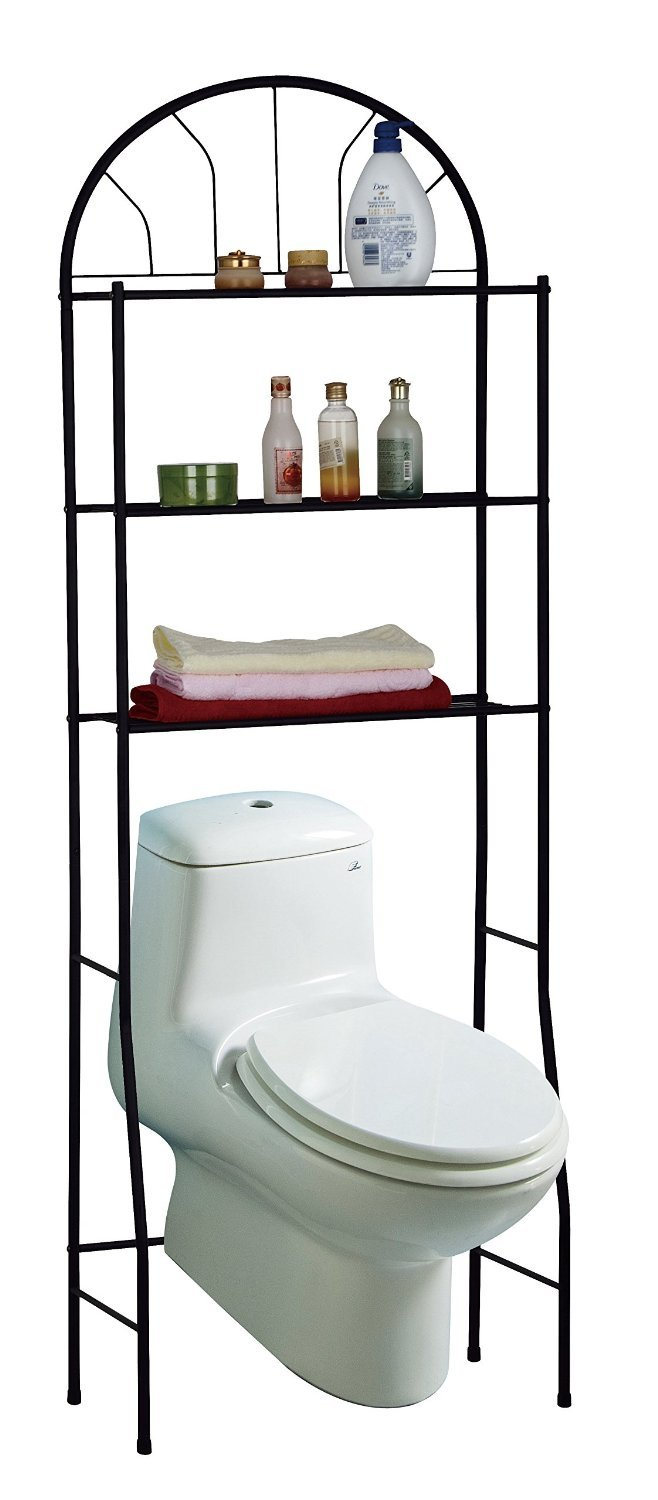 3 Shelves Space-Saving Bathroom Shelving Unit, Over the Toilet Storage Rack Above Edge 19002B
