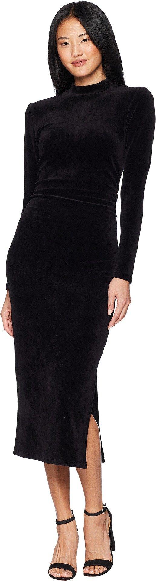Juicy Couture Women's Track Stretch Velour Mock Neck Midi Dress Pitch Black Large