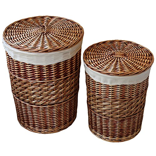 Kingwillow,Laundry Storage Baskets with Lid Hamper Handmade Woven Wicker&cattail Round Closet Organizer (Set of 2, Brown) (White Wicker Storage Baskets With Lids)