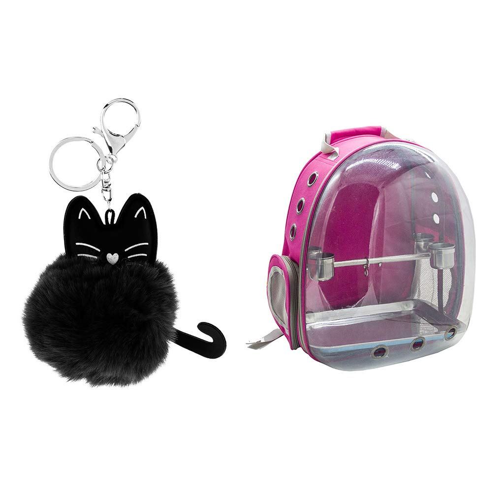 Baoblaze Breathable Pet Parred Travel Bag Space Capsule Backpack Carrier W Perch pink Red