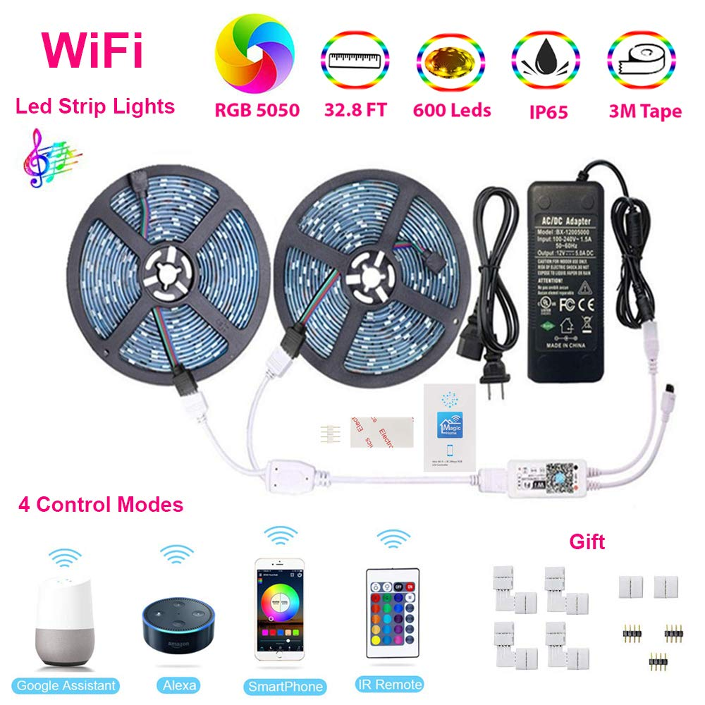 Led Strip Lights, WiFi Wireless Remote Phone Controlled Rope Light Kit, 5050 RGB 600LEDs,32.8FT(10M) Waterproof IP65 Tape Light,Works with Google Assistant and Alexa Compatible with Android and iOS