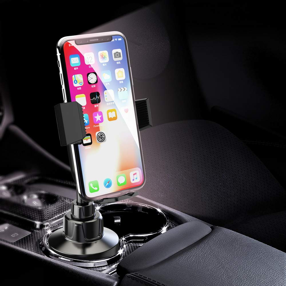 Height Adjustable Metal Stand Car Phone Cradle Fit for All Smartphones for iPhone 11 Pro//11 Pro Max//XR//XS//XS Max//X//8//7 Galaxy Wireless Cup Holder Phone Mount Galaxy S10//S10 Plus Note 9//Note 10 Plus