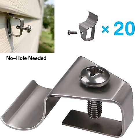Vinyl Siding Clips Hooks No Hole Needed Outdoor Siding Screws Hanger For Mount Solar Security Motion Sensor Lights 20 Pack Amazon Com