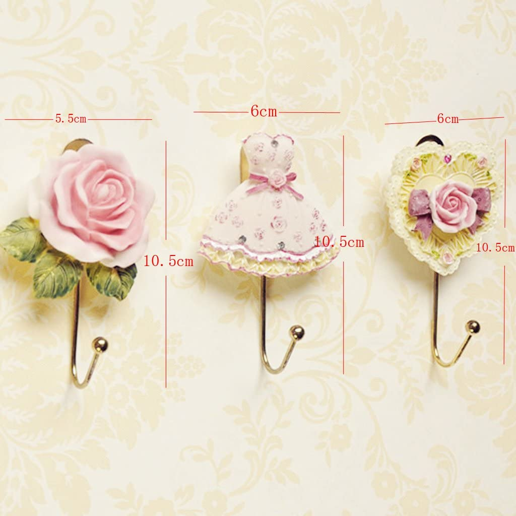 2 x Lovely Resin Coat Hat Robe Towel Hook Hanger Wall Mounted Rose Flower