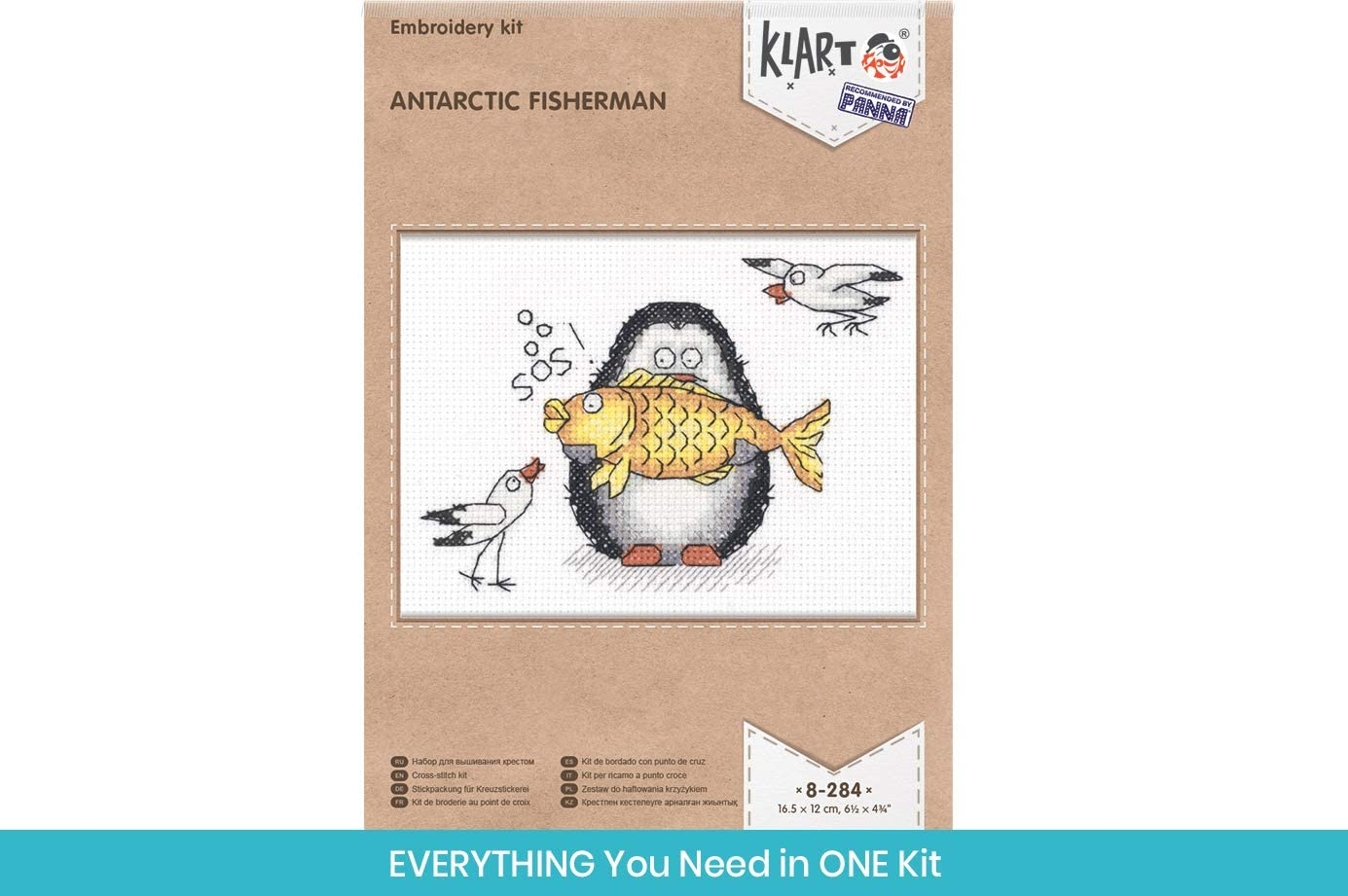 """DIY Cross Stich Kit Ice Dancer Fun Needlework Pattern Penguin Cross Stitch Kits for Beginners and Adults KLART Embroidery Kit Counted 5.5/"""" x 5/"""" or 13.5 x 12.5cm"""
