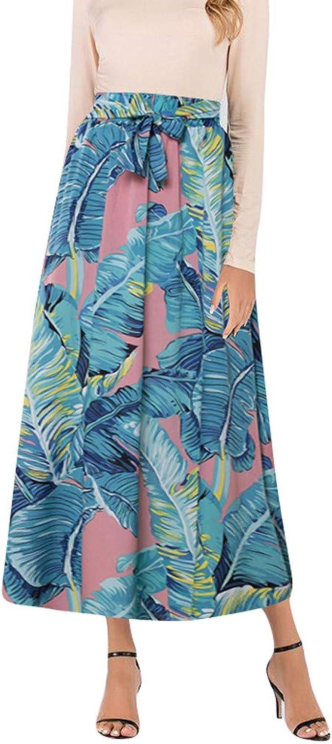 beautyjourney Faldas largas con Estampado Vintage para Mujer Falda ...