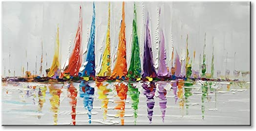 Canvas Wall Art Sailboat Oil Painting Hand Painted Colorful Abstract Boat Impression Artwork Modern Sailing Decorations Framed and Stretched 48 x24
