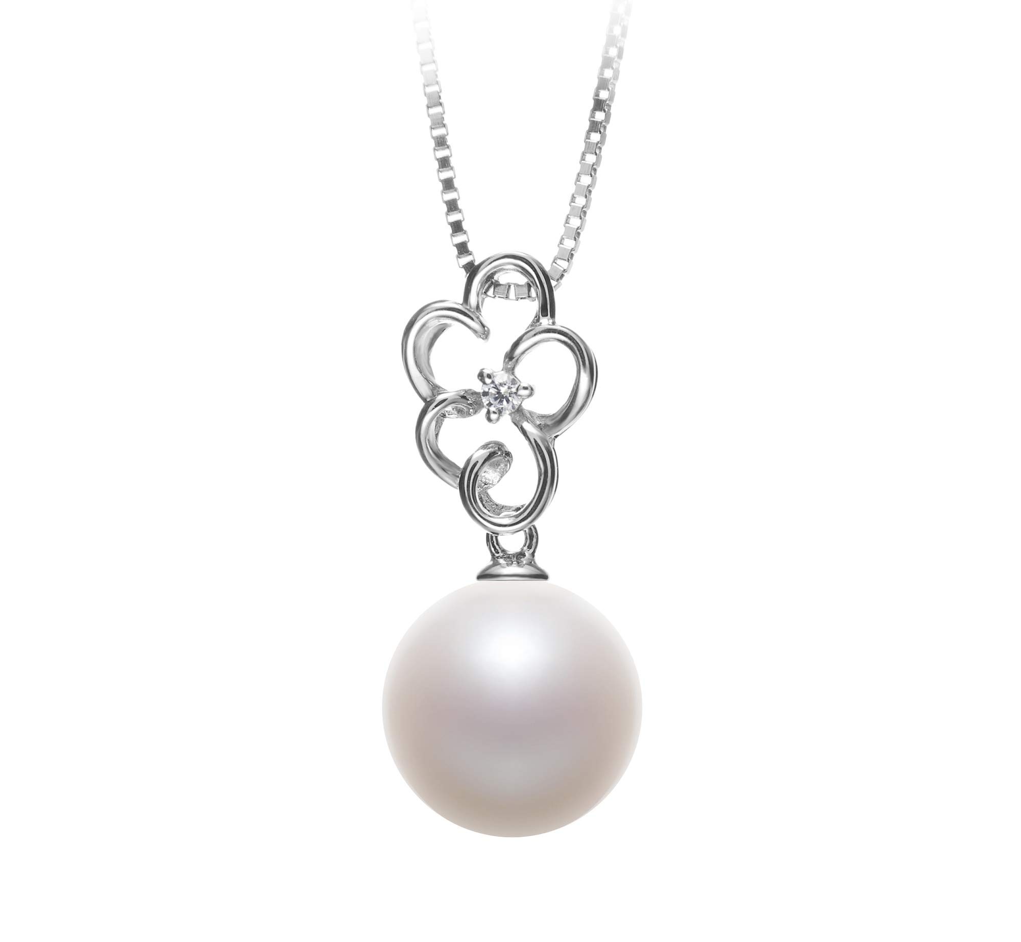 Hilary White 10-11mm AAAA Quality Freshwater 925 Sterling Silver Cultured Pearl Pendant For Women
