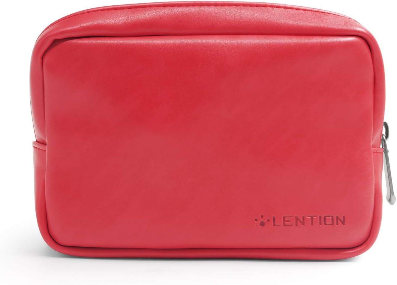 lention Funda Protectora de Cuero Dividida para la Bolsa de Almacenamiento, el Adaptador de alimentación de la computadora portátil/Tableta, Cargador para teléfono, Ratón inalámbrico, Más (Rojo)