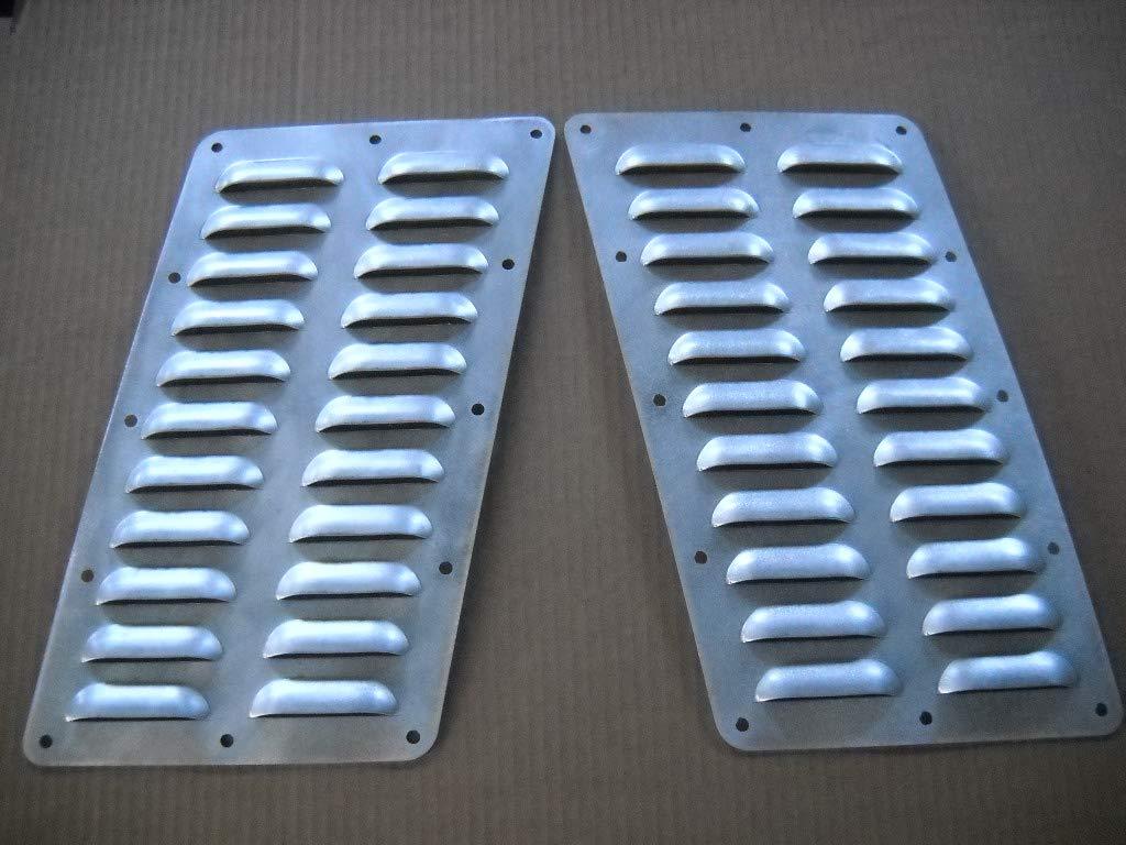 "RodLouvers Pair of Double Row 3"" Tilted Aluminum Hood Panels (Bolt-on) Kit"