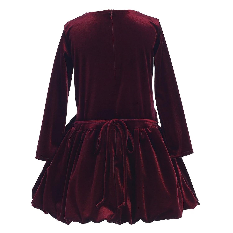 9603c61bb Lito Little Girls Burgundy Stretch Velvet Bow Bubble Christmas Dress 2T-6:  Amazon.co.uk: Clothing