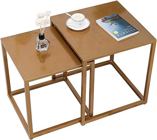 LAMXF Mesas de anidamiento para Espacios pequeños, Pack 2 mesas Modernas de Metal para sofá, Juegos de Mesa para Sala de Estar: Amazon.es: Hogar
