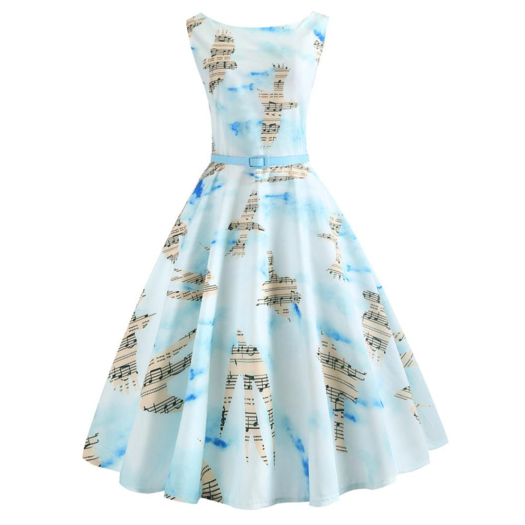 Hot Sale!Women Dress Daoroka Sexy Vintage Musical Notes Printed Pleated A Line Swing Casual Evening Party Skirt With Sashes (XL, Light Blue)