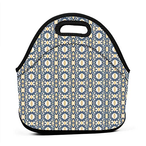 Aztec_Cherry_pattern_3111 Waterproof Insulated Lunch Portable Carry Tote Picnic Storage Bag Lunch box Food Bag Gourmet Handbag For School Office