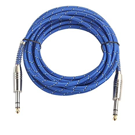 Amazon com: MagiDeal Blue Nylon Braided 6 35mm 1/4 TRS Male