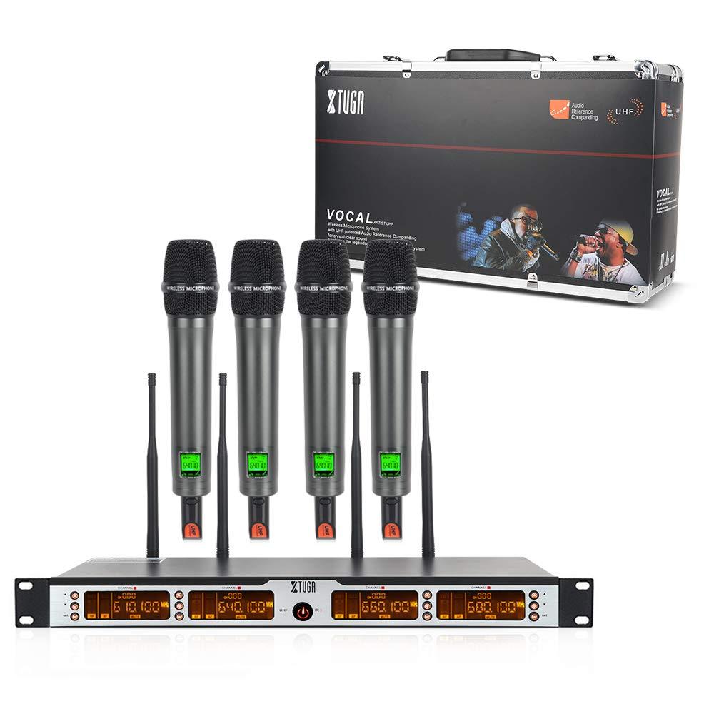OWLVIEW SKM4000PLUS 4 x 100チャンネルUHFワイヤレスハンドヘルドマイクロホンシステム、周波数選択可能、干渉防止、家族での使用、教会、小さいカラオケナイト(範囲:200-320Ft)   B07RKR9SS1