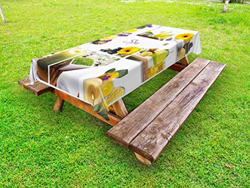 Ambesonne Spa Outdoor Tablecloth, Yellow Happy Peaceful Spa Day with Flowers Candles and Herbal Oils Art, Decorative Washable Picnic Table Cloth, 58 X 84 inches, Yellow Purple and White by Ambesonne (Image #2)