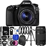 Canon EOS 80D DSLR Camera with 18-55mm f/3.5-5.6 IS STM Lens & EF 75-300mm f/4-5.6 III Lens 64GB Bundle 33PC Accessory Kit. Includes 64GB Memory Card + 3PC Filter Kit (UV-CPL-FLD) + 4PC Macro Filter Set (+1,+2,+4,+10) + MORE - International Version (No Warranty)