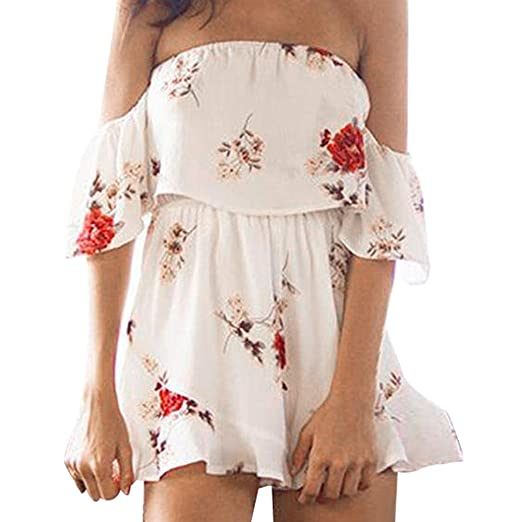 27f1c5d1ee5 Amazon.com  Women Sexy Off Shoulder Playsuit Boho Ruffled Flounce Floral  Jumpsuit Romper  Clothing